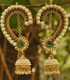 Buy Beautiful Maroon & Green colour Earrings studded with pearls women-ethnic-wear online