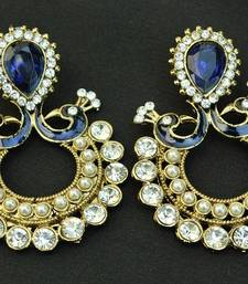 Designer Peacock with Ram Leela Earrings studded with Blue Stones shop online