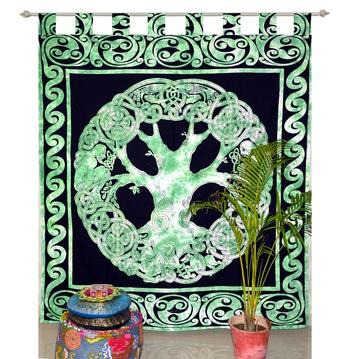 INDIAN MANDALA Kitchen Window Curtains & Valances Set Dorm Tab top Tapestry Drape Balcony Curtain Boho Set Hippie panel