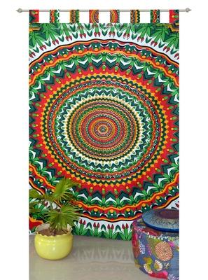 Boho Living Room Tab top Curtains, Bohemian Curtains For Bedroom, Tie Dye Tapestry Curtains, Mandala Hippie Dorm Decor