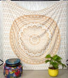 New Launched White Gold Passion Ombre Mandala Tapestry, Bohemian Wall Hanging, Queen Mandala Tapestries Queen