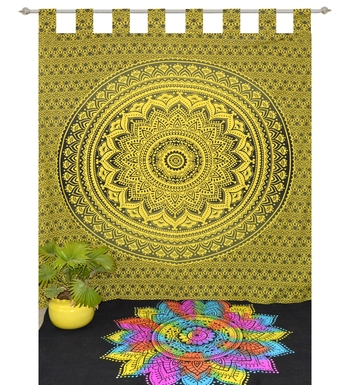Indian Mandala Curtains Set Decorative Indian Tab top Tapestry Tab Top Curtains mandala curtains for bedroom