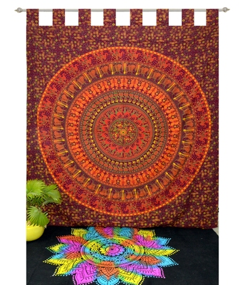 INDIAN MANDALA Kitchen Window Curtains & Valances Set Dorm Tab top Tapestry Drape Balcony Curtain Boho Set Hippie panel