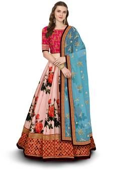 a35012c33afae Multicolor embroidered art silk semi stitched lehenga with dupatta. Shop Now