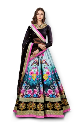 Multicolor Embroidered Art Silk Semi Stitched Lehenga With Dupatta