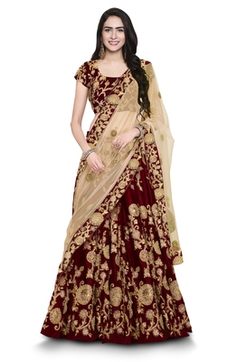 Maroon Embroidered Velvet Semi Stitched Lehenga With Dupatta