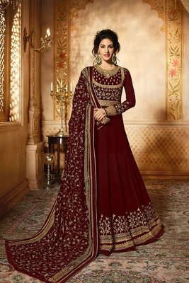 Maroon embroidered georgette anarkali  with dupatta