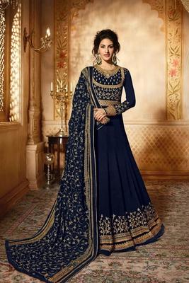 Navy-blue embroidered georgette salwar with dupatta