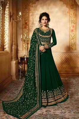 Green embroidered georgette salwar with dupatta