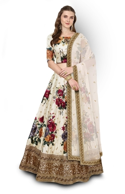 Cream Embroidered Art Silk Semi Stitched floral Lehenga
