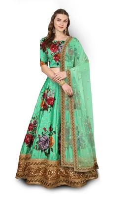Green Embroidered Art Silk Semi Stitched Lehenga With Dupatta