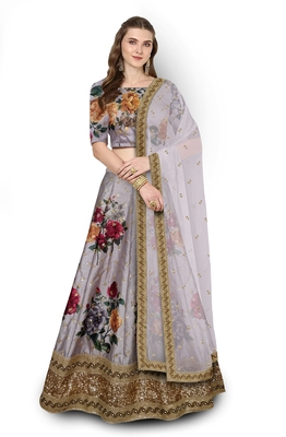 Grey Embroidered Art Silk Semi Stitched Lehenga With Dupatta