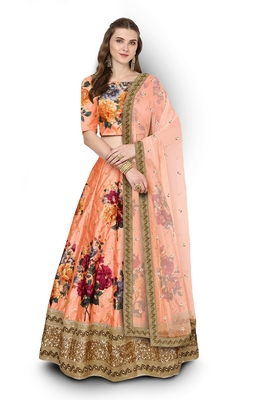 Peach embroidered art silk semi stitched lehenga with dupatta