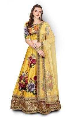 Yellow Embroidered Art Silk Semi Stitched Lehenga With Dupatta