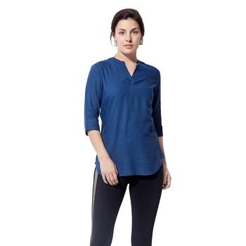 Blue plain cotton long top