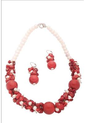Genuine Coral Pearl Necklace with Earrings