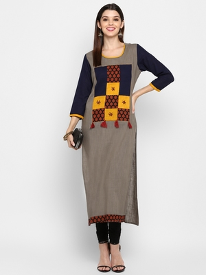 Multicolor plain cotton  kurtis