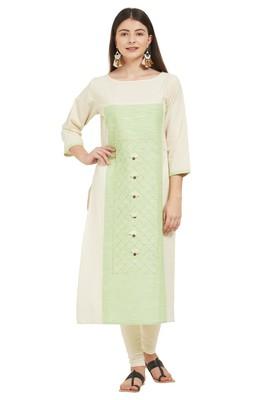 Beige plain cotton cotton-kurtis