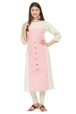 Beige plain cotton cotton-kurtis