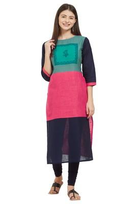 Multicolor plain cotton cotton-kurtis