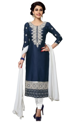 Blue embroidered Mirror Work cotton salwar Suit with Dupatta