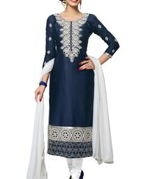 Blue embroidered Mirror Work cotton salwar Suit with Dupatta