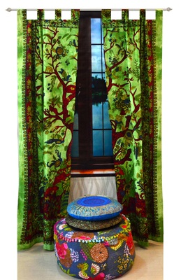 Indian Tab top Curtain Mandala Curtains, 2 Panel Set Mandala Curtain, Tapestry, Drapes & Valances, Window Curtain