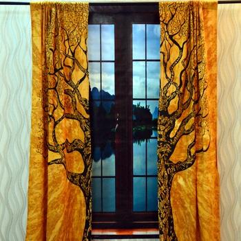 Mandala Door Tab top Curtains Indian Drape Balcony Room Decor Curtain Boho Set Ethnic Window Treatments & Panels Set