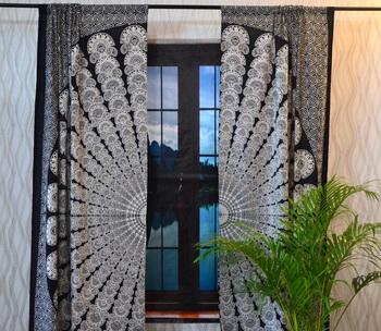 Indian Mandala Curtains Set Decorative Indian Tab Top Curtains Mandala Curtains for Bedroom Two Panel Curtains