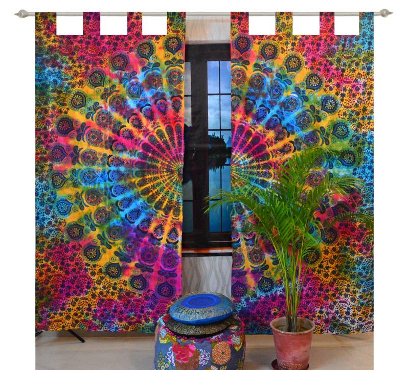 Indian Mandala Curtains Set Decorative Indian Tab Top ...