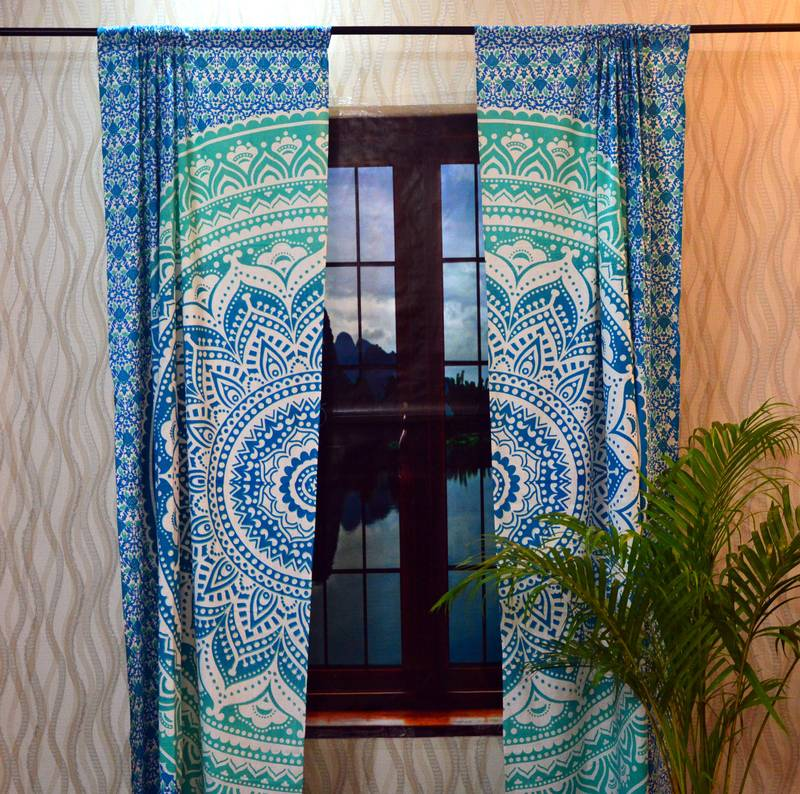 Indian Mandala Tab top Curtains Set Decorative Indian Tab ...