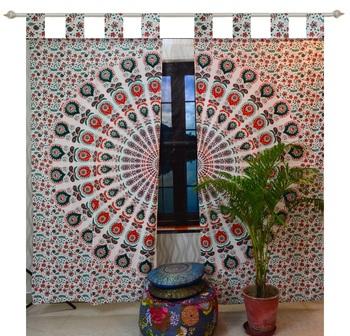 Indian Mandala Tab top Curtains Set Decorative Indian Tab Top Curtains Mandala Curtains for Bedroom