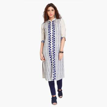 Grey embroidered polyester stitched kurtas and kurtis