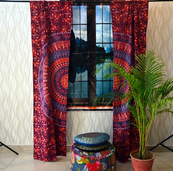 Indian Mandala Tab top Curtains Set Decorative Indian Tab Top Curtains Mandala Curtains for Bedroom