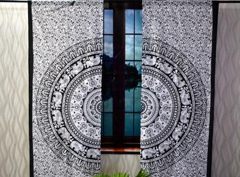 Mandala Window Tab top Curtains Indian Drape Balcony Room Decor Curtain Boho Set Ethnic Window Treatments & Panels Set