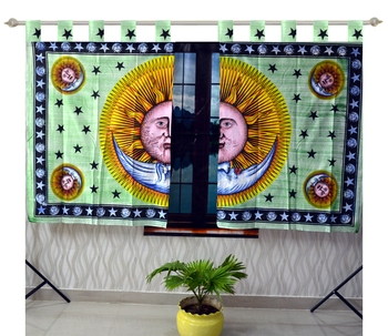 Indian Mandala Curtains Set Decorative Indian Tab top Tapestry Tab Top Curtains Mandala Curtains for Living room