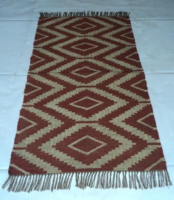 Handmade Woven Kilim Rug Ekat Floor Carpet Jute Wool Area Ekath Red Coloured Designer