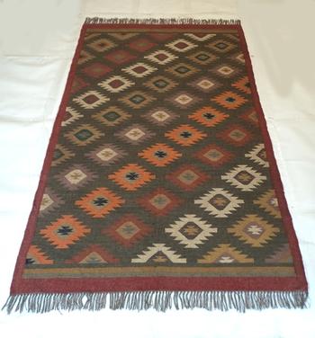 Antique Traditional Porch Designer Mat, Multi Coloured Floor Dining Jute Wool Rug