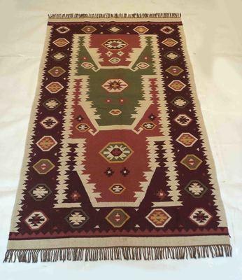 Geometric Old Banjara Designer Wool Cotton Kilim Rug Carpet Size 5x8 Feet Carpet