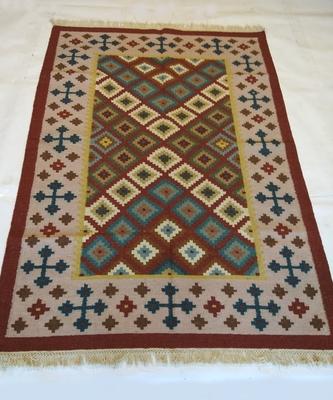 Handmade Traditional Multi Coloured Wool Cotton Kilim Carpet Rug Size 4x6 Feet