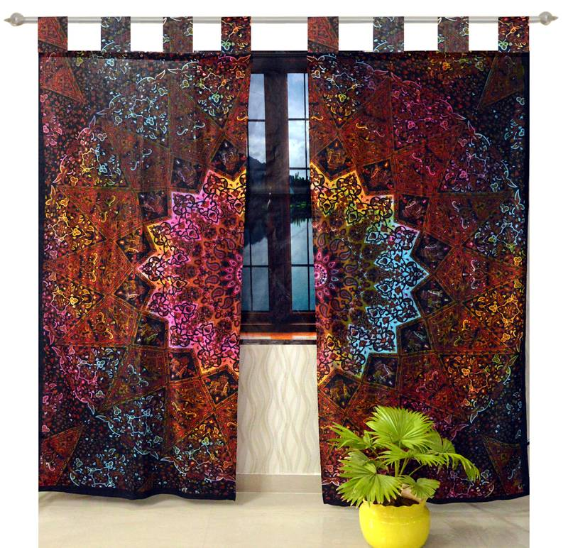 Indian Mandala Curtains Set Decorative Indian Tab Top ...
