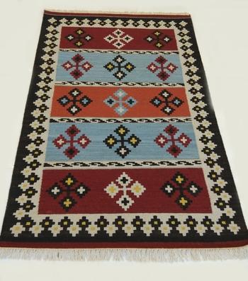 Handmade Traditional Multi Coloured Wool Cotton Kilim Area Rug Carpet
