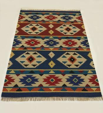 Banjara Etching Designer Wool Cotton Kilim Rug  Door Mat, Kitchen Mat, Living Room Mat, Bedroom Mat,