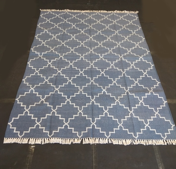 Natural Hand woven Blue Cotton Made Modern Area Rug Flat Woven Rug Carpet