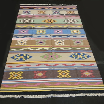 Handmade Cotton Multi Coloured Tribal Kilim Rug For Beautiful Kilim Area Rug