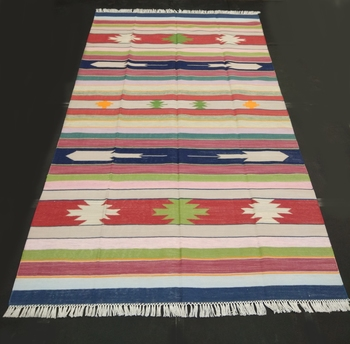 Handmade 100% Cotton Multi Tribal Kilim Rug Multi Coloured Beautiful Kilim Area Rug