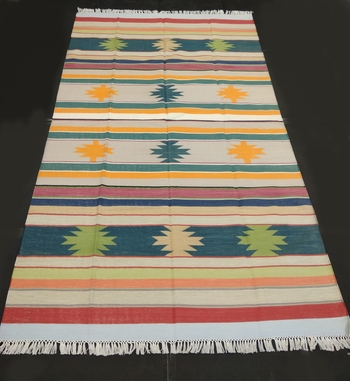 Hand Woven Home Decorative Cotton Multi Taruesh Tribal Kilim Rug Multi Coloured Area Rug