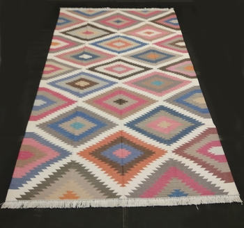 Geometric Handmade Persian Multi Color Home Decorative Cotton Kilim Area Rug Door Mat