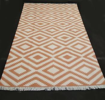 Beautiful Stone Persian Brown Coloured 100% Cotton Kilim Home Decorative Area Rug