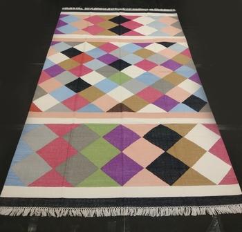 Handmade Kutchi Multi Coloured Beautiful Cotton Kilim Rug Home Decorative Flat Woven Rug